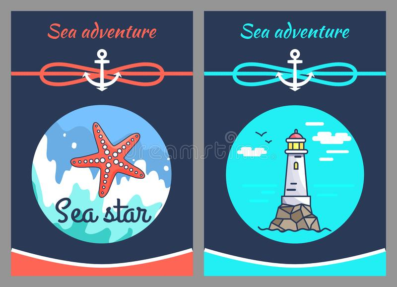 Sea Adventure and Star, Two Vector Illustrations. Sea adventure and star, two color vector illustrations with grey frame, sea wave and calm marine water, cordage royalty free illustration