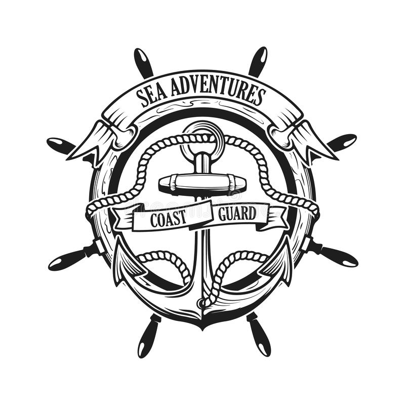 Sea adventures. Coast guard. Anchor with rope and ribbons vector illustration