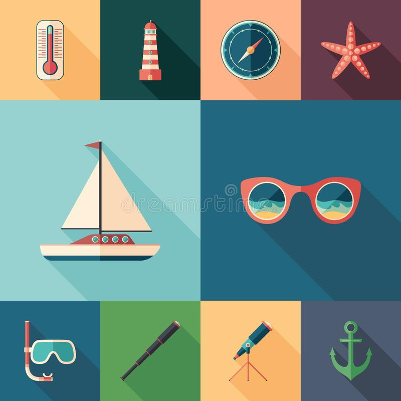 Sea adventures set of flat square icons with long shadows. royalty free illustration