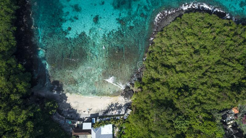 Sea Aerial view, Top view, amazing nature background. The color of the water and beautifully bright. Azure beach with stock images