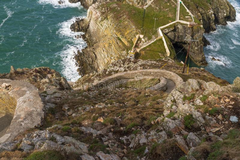 Sea against headland, South Stack Cliffs, Anglesey. royalty free stock image