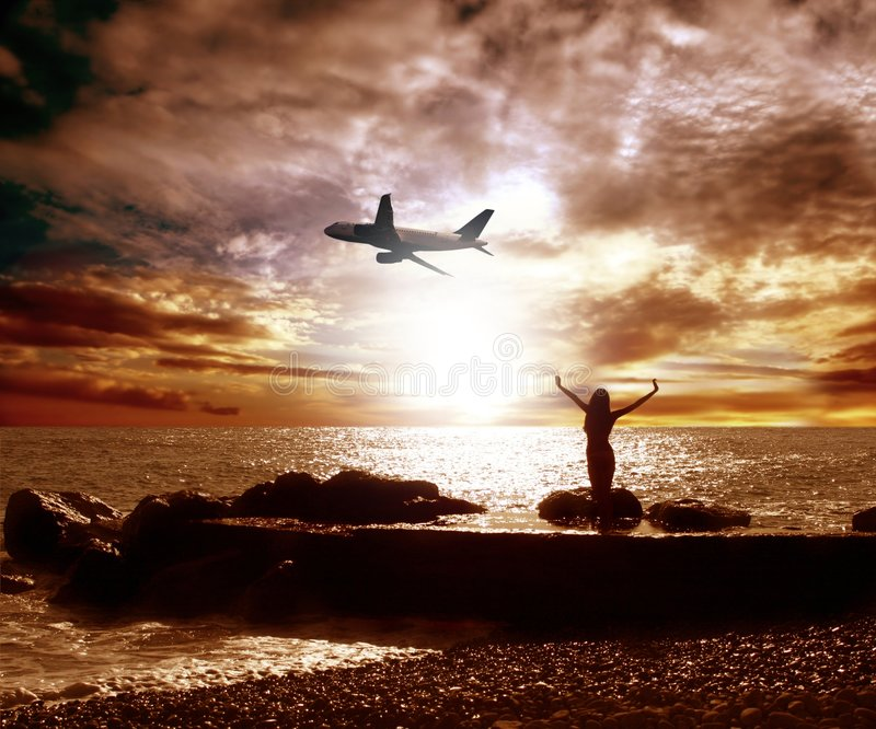 Sea and airplane stock image