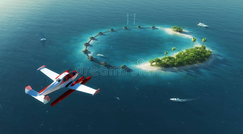 Sea airplane flying above private paradise tropical island stock photos