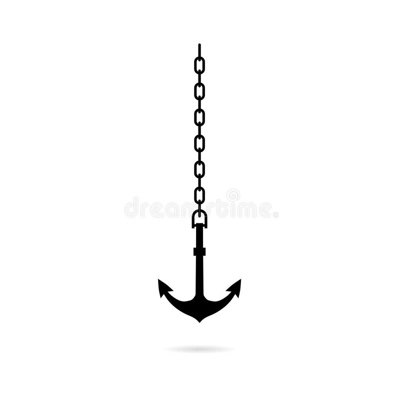 Sea anchor with chain icon. Shadow reflection design vector illustration