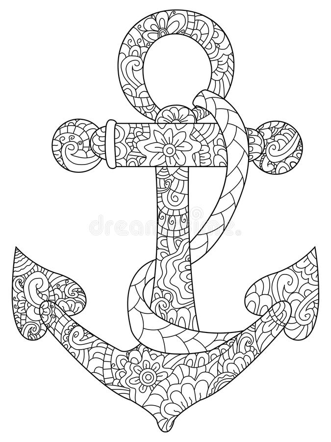 Sea Anchor Coloring Vector For Adults Stock Vector Illustration of