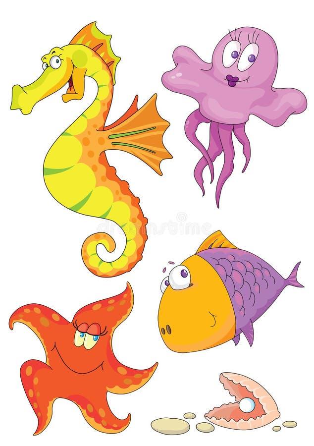 Sea animals. Illustration of different sea animals: fish, shell, starfish, sea-horse, jellyfish stock illustration