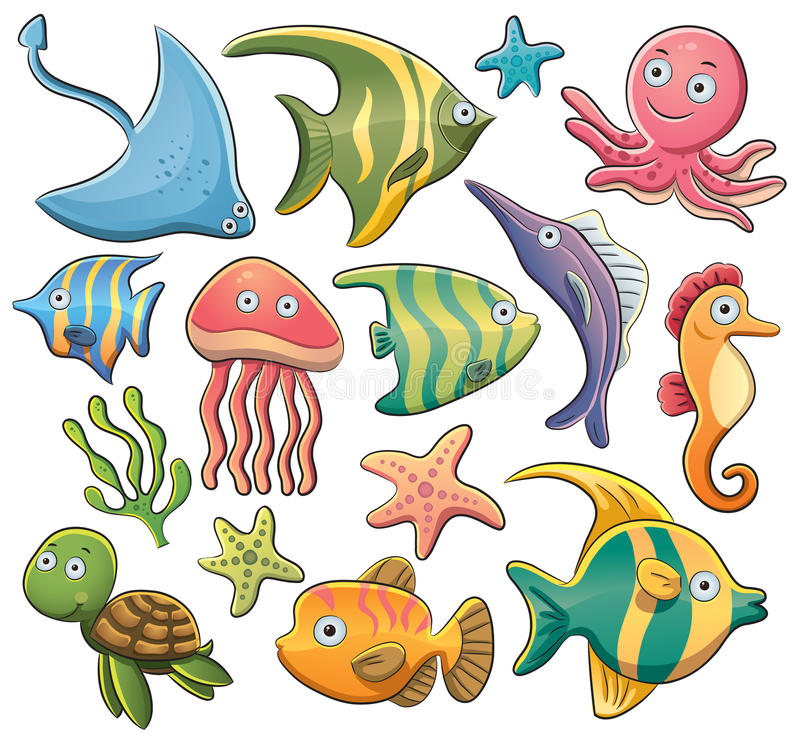 Sea Animals. Cartoon illustration of various sea animals collection stock illustration