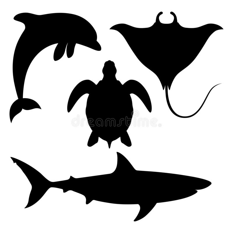 Sea animals black silhouettes. Sea animals set Icons. Dolphin, shark, turtle and manta ray black silhouettes isolated on white background. Sea life symbols stock illustration
