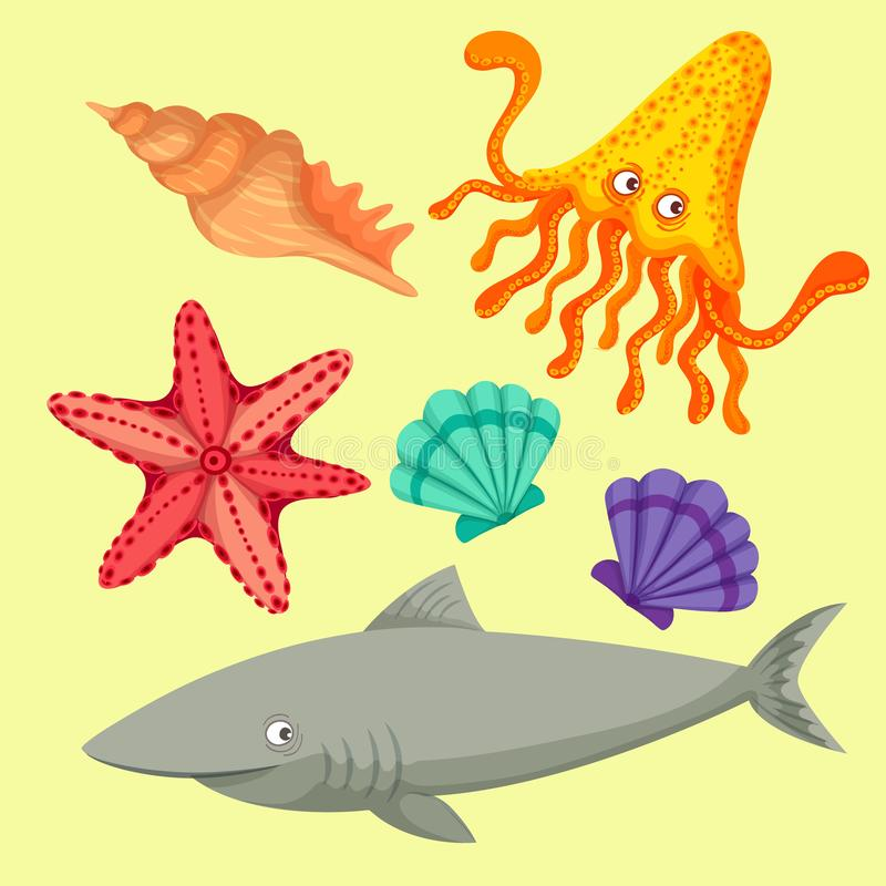 Sea animals so cute. Sea animals of simple color illustrations vector illustration