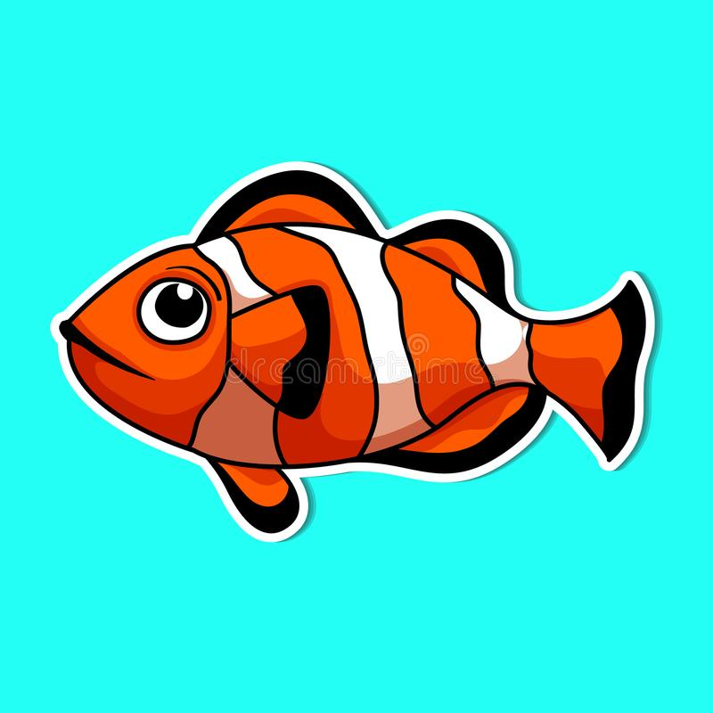 Sea animals so cute. Sea animals of simple color illustrations stock illustration