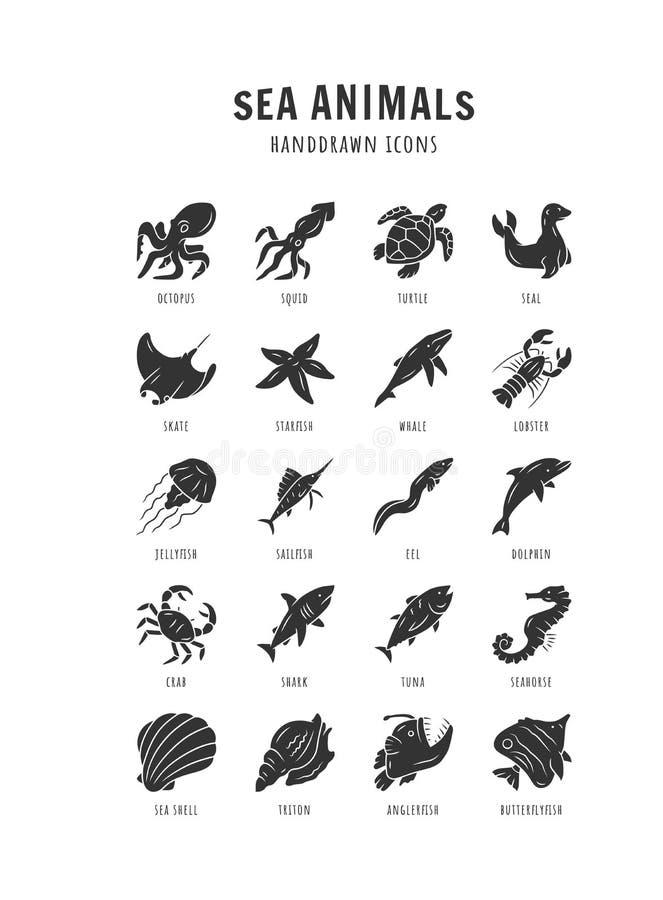 Free Sea Animals Glyph Icons Set. Starfish, Butterflyfish, Seal. Ocean Wildlife. Aquatic Tropical Fish Species. Undersea Stock Photo - 180304240
