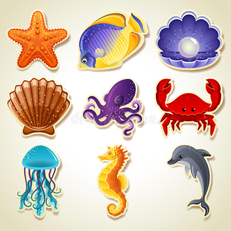 Download Sea animals icons stock vector. Image of pink, icon, shellfish - 25757488