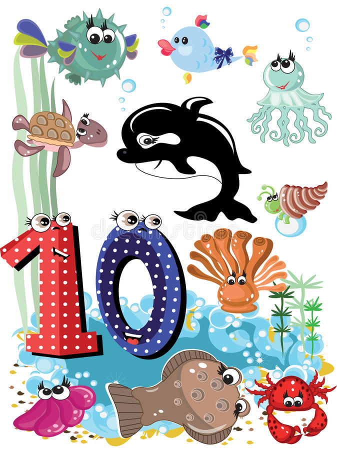 Sea animals and numbers series-10 royalty free stock photos