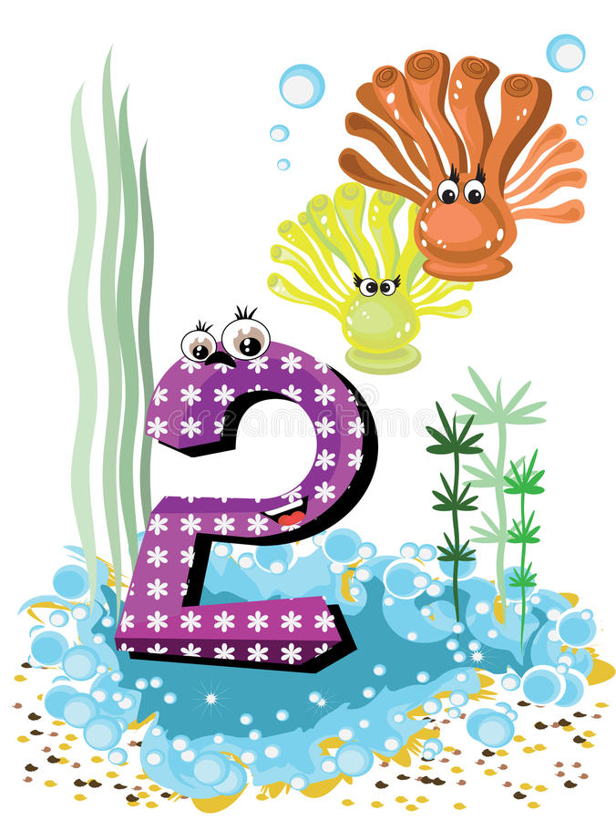 Sea animals and numbers series for kids 2 coralls royalty free stock photo