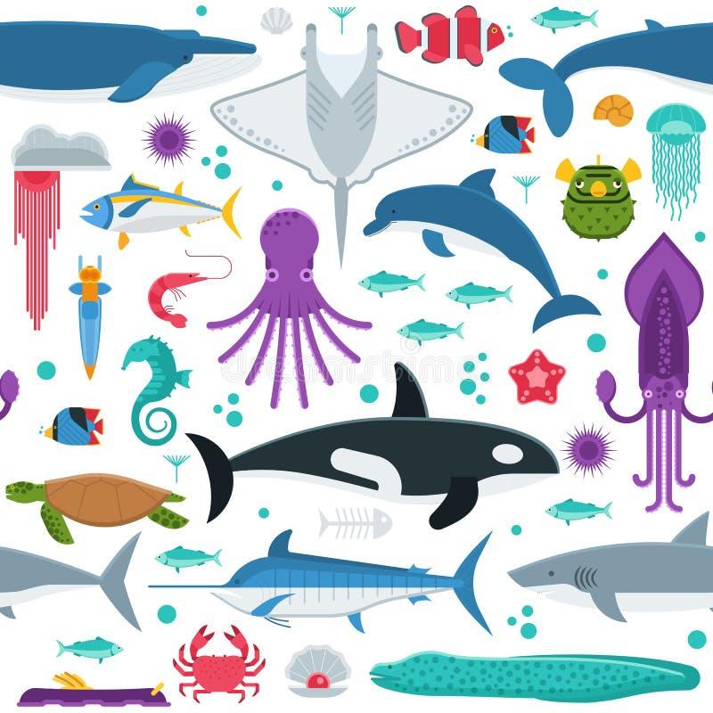 Sea Animals Seamless Pattern royalty free illustration