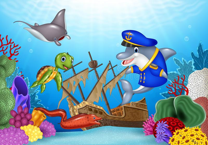 Sea animals with Shipwreck on the ocean. Illustration of Sea animals with Shipwreck on the ocean vector illustration