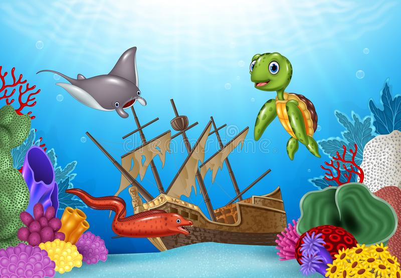 Sea animals with Shipwreck on the ocean vector illustration