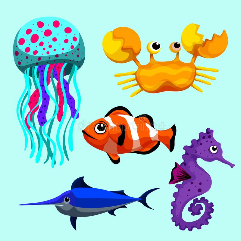 Sea animals so cute. Sea animals of simple color illustrations royalty free illustration