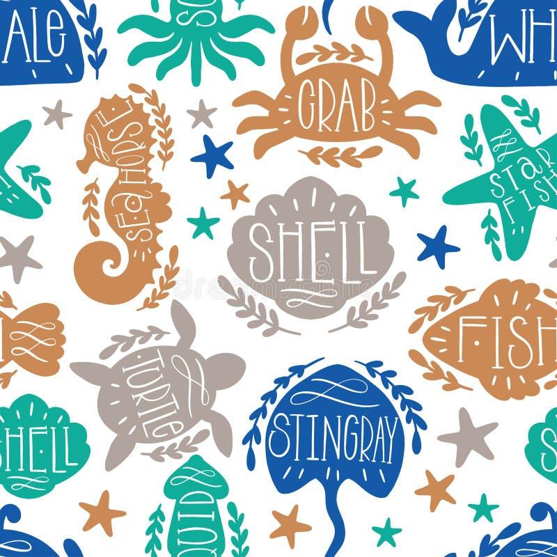 Sea animals vector seamless pattern text lettering. Ocean shape fish,octopus,crab,turtle,starfish,seahorse,jellfish,stingray,shell stock illustration