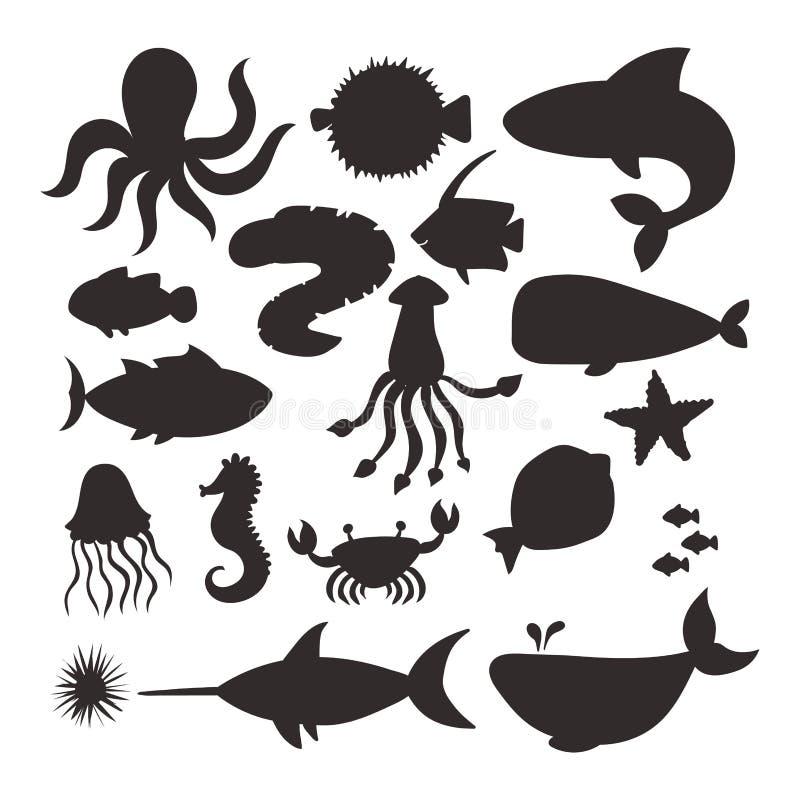 Sea animals vector silhouette creatures characters cartoon ocean wildlife marine underwater aquarium life water graphic. Aquatic tropical exotic beasts stock illustration