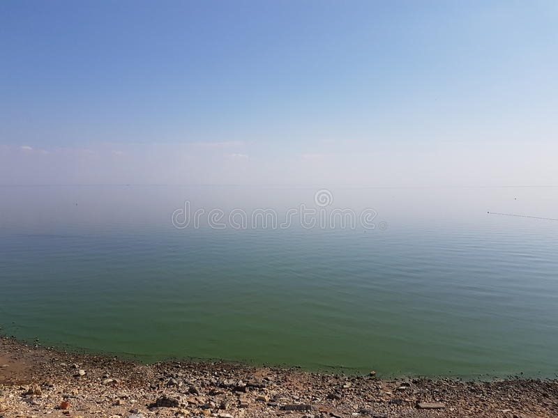 Sea of Azov. Silent smooth surface of the Azov Sea in calm stock photography
