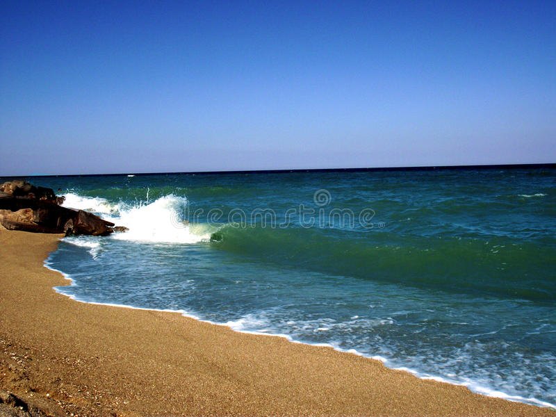 Sea of Azov. Ukraine. The city of Kirillovka. Spring cool sea. A small storm royalty free stock photos