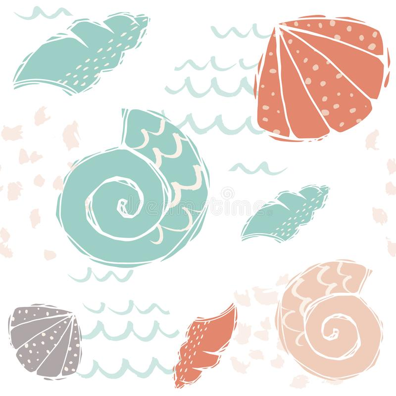 Sea baby cute seamless pattern. Sweet sea shells and wavea print vector illustration