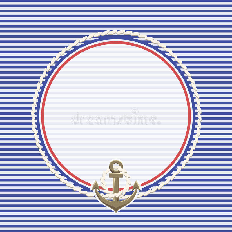Sea background and anchor with rope royalty free stock photography