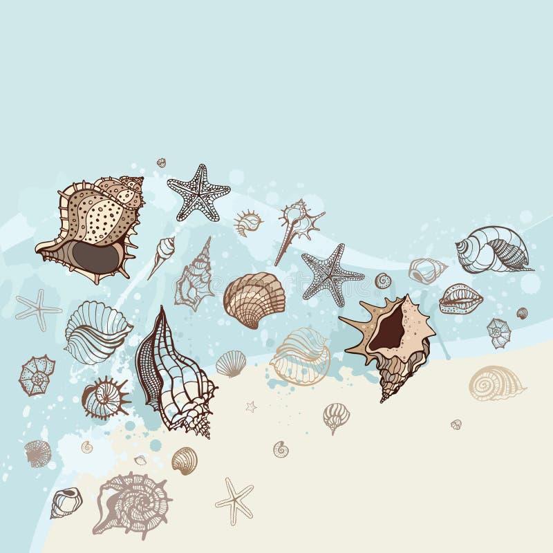 Sea Background. Hand Drawn  Illustration Royalty Free Stock Image