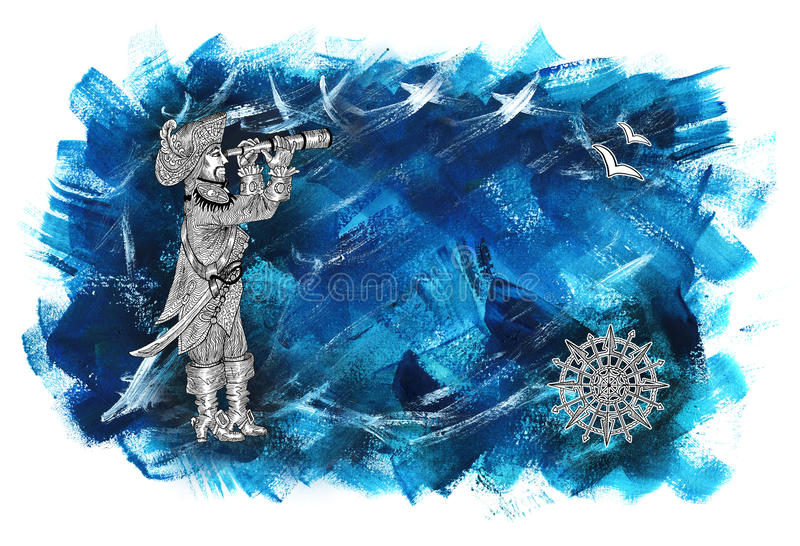 Sea background with pirate captain watching long glass vector illustration