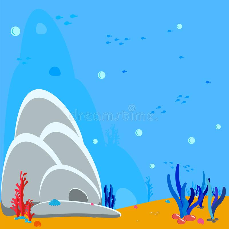 Sea background. Underwater background. Bubbles of water and the silhouette of algae and corals, shells, rocks and a cave. Blue royalty free illustration