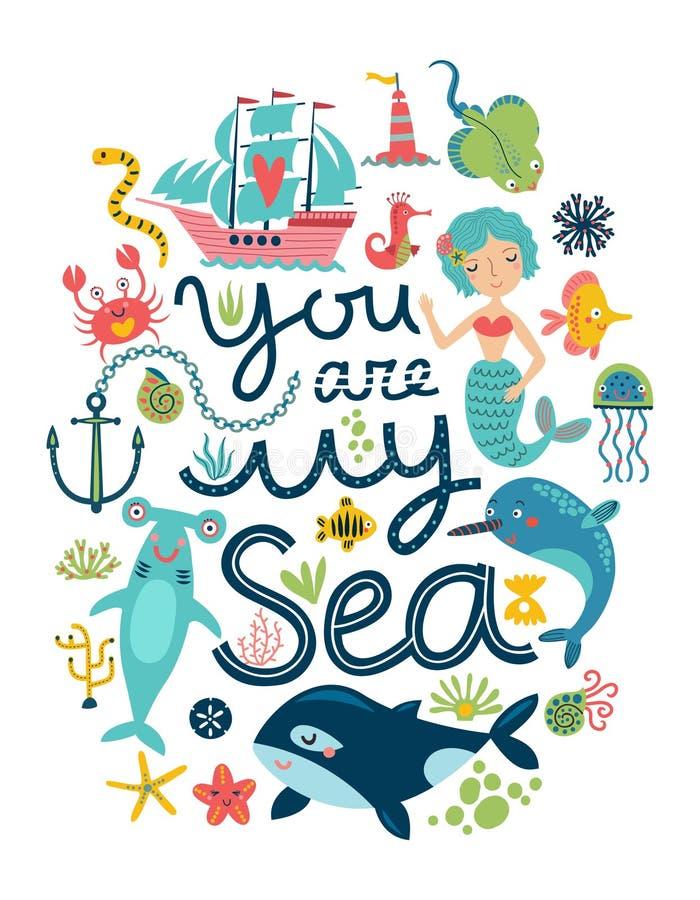 Sea background stock illustration