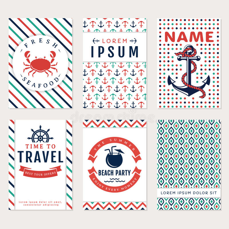 Sea banners. Vector card templates. royalty free illustration