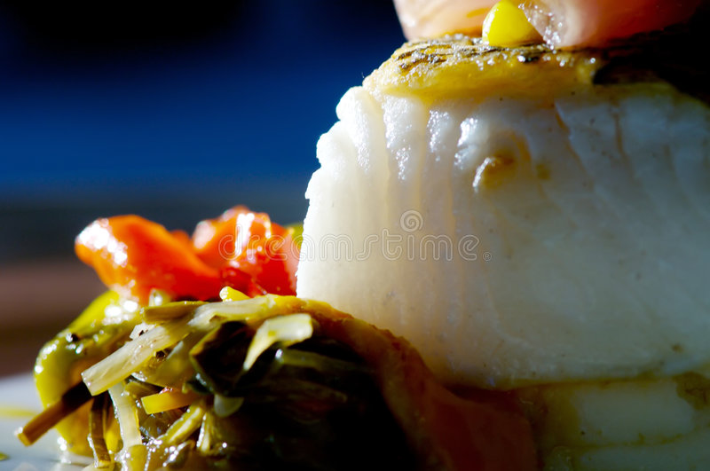 Sea bass. Image of grilled sea bass with vegetabes stock images