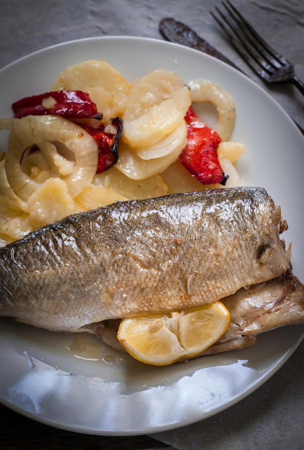 Sea bass baked royalty free stock images