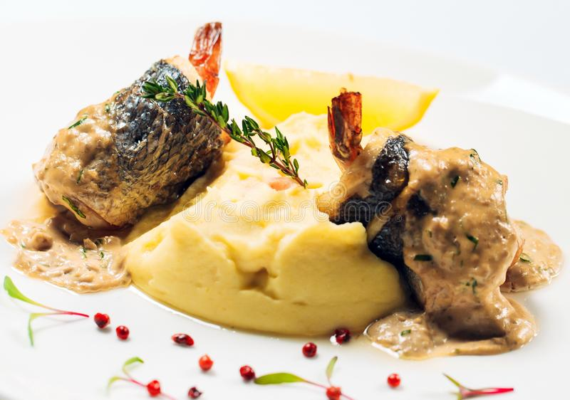 Sea bass in oyster sauce on the white plate.  stock photography
