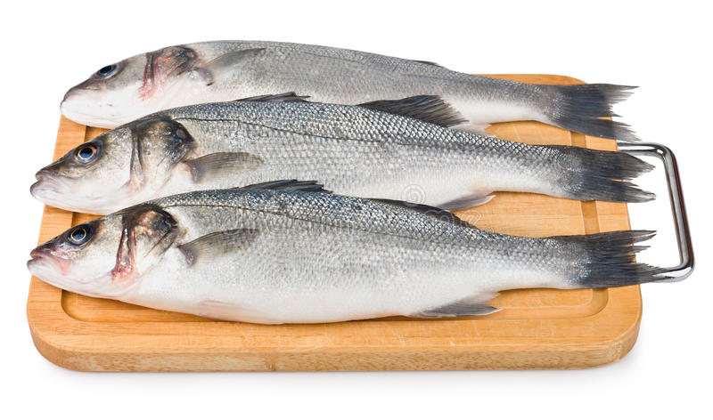 Sea Bass on wooden board royalty free stock photo