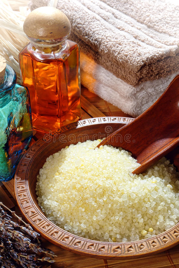 Sea Bath Salts in a Wood Bowl in a Spa royalty free stock photography