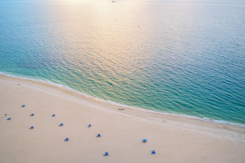 Sea beach, aerial view. Sand beach and blue sea water seen from above. Summer vacation concept. Wanderlust, travel, trip. Adventur royalty free stock photos