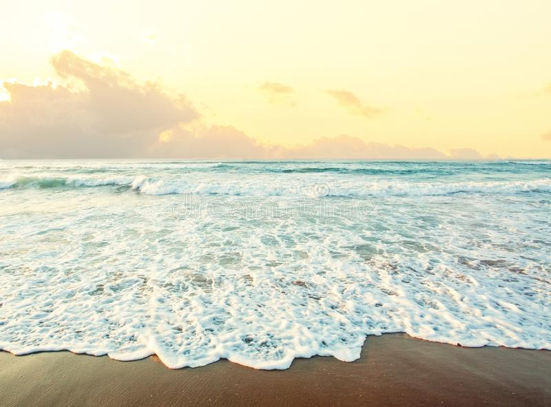 Sea and beach background. Skyline with sky clouds, sea surf and sand royalty free stock photography