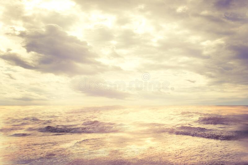 Sea Beach and Clouds Sky, Landscape of Sun and Waves on Coast, Coastline Seascape royalty free stock images