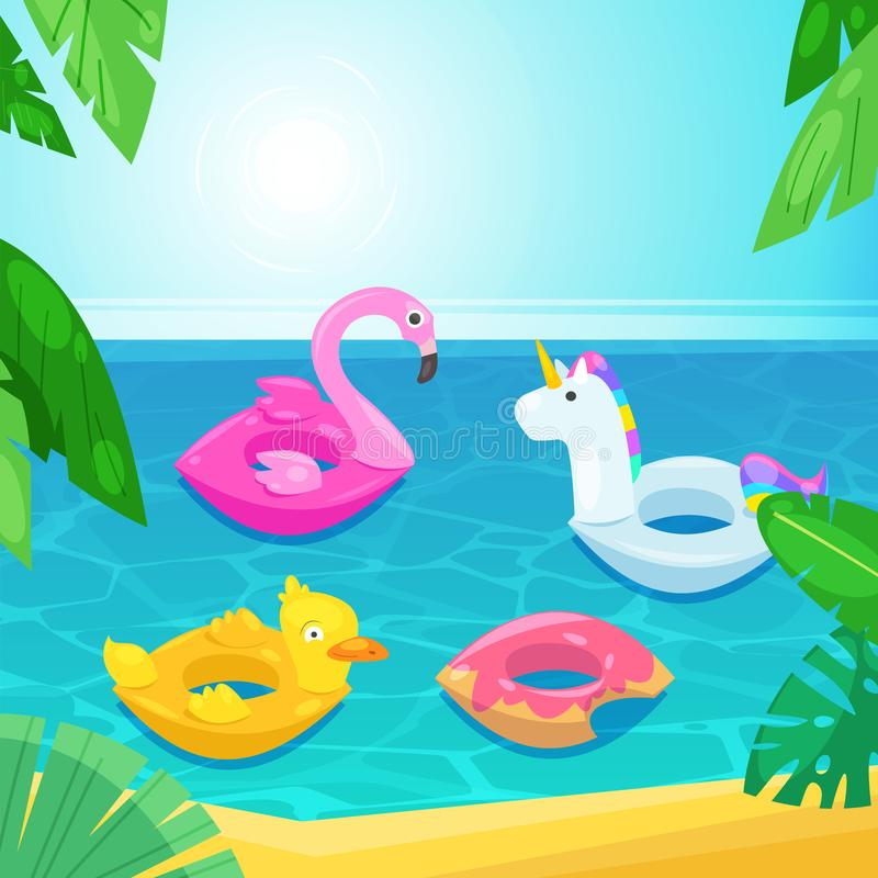 Sea beach with colorful floats in water, vector illustration. Kids inflatable toys flamingo, duck, donut, unicorn. stock illustration