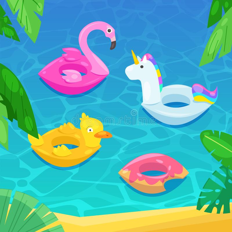 Sea beach with colorful floats in water, vector illustration. Kids inflatable toys flamingo, duck, donut, unicorn. vector illustration