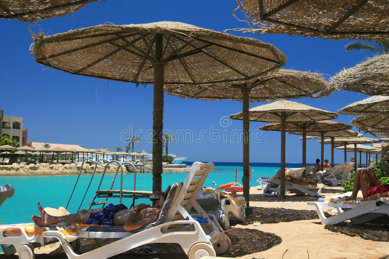 Sea beach in Egypt stock photography