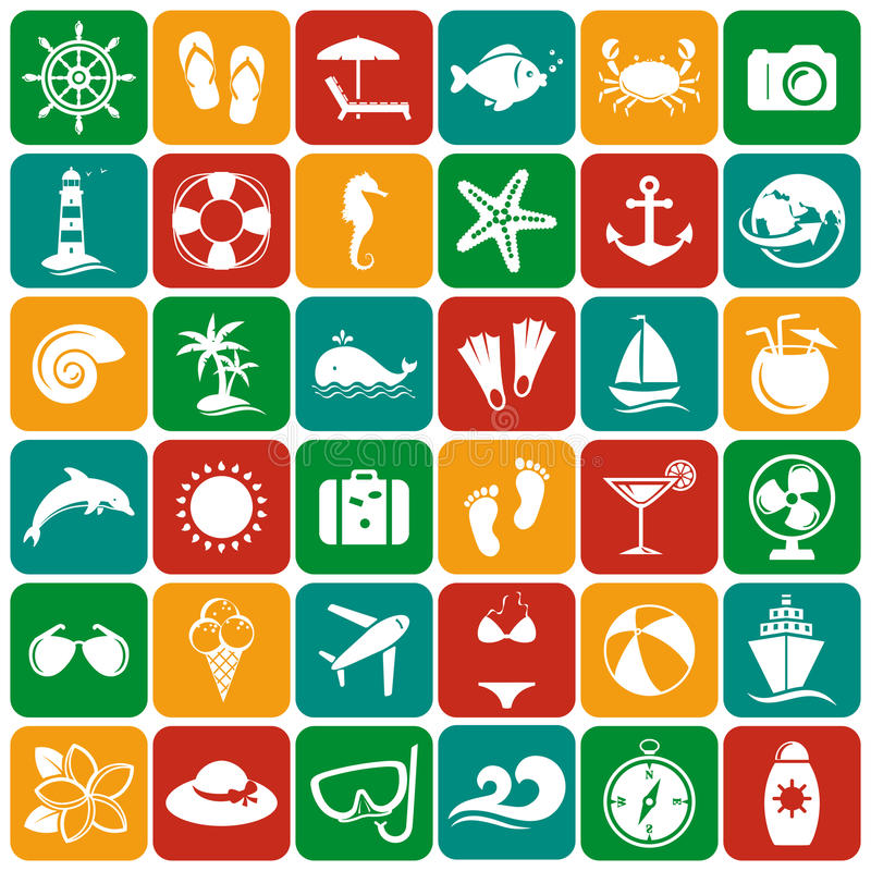 Sea and beach flat icons. Vector set. vector illustration