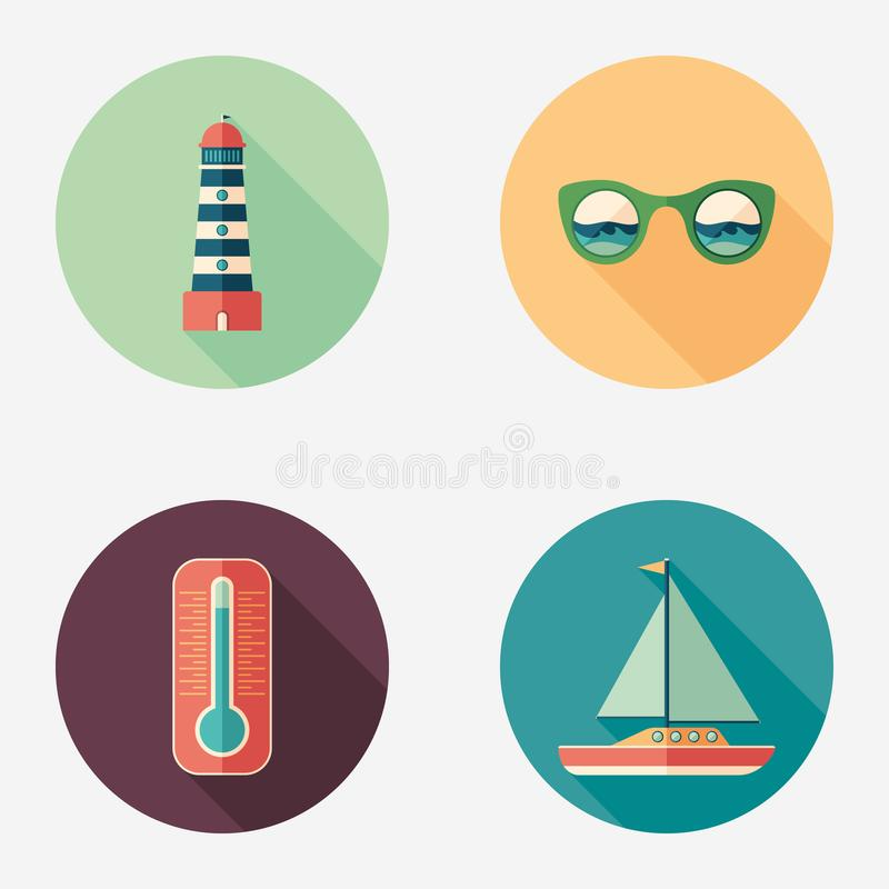 Sea and beach flat round icon set. vector illustration