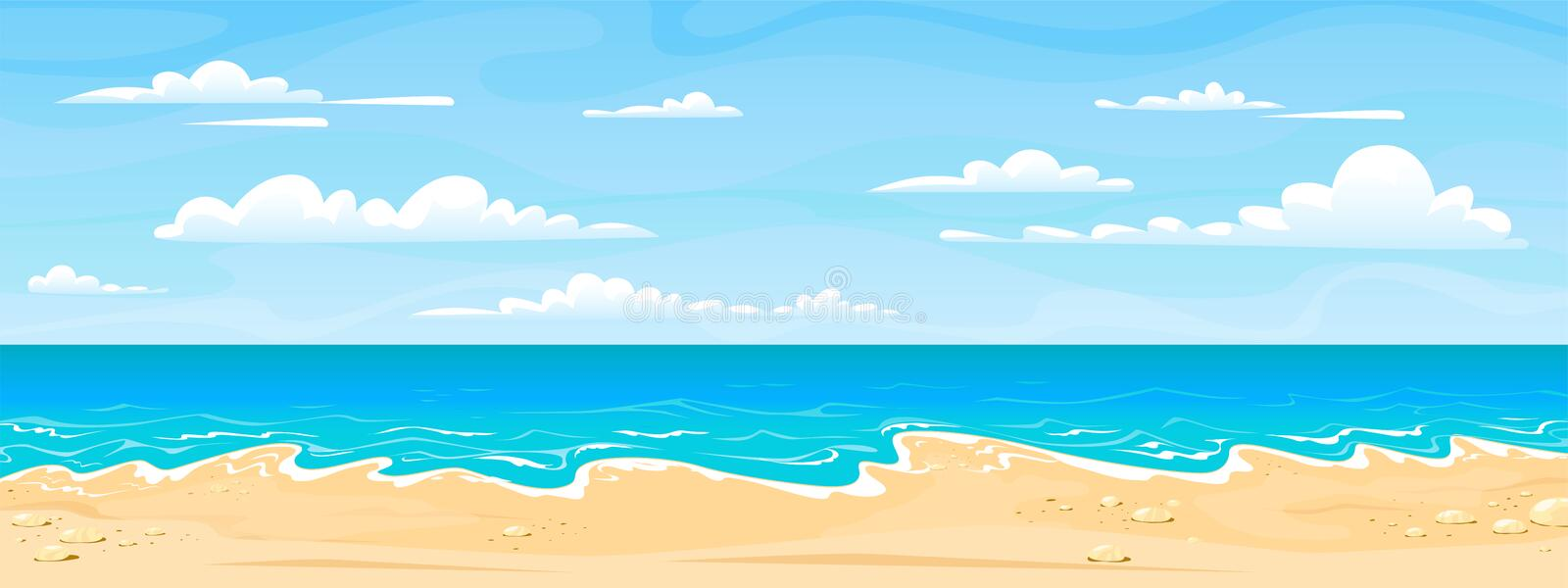 Sea beach landscape. Cartoon summer sunny day, ocean view horizontal panorama, water sand and clouds. Vector vacation stock illustration