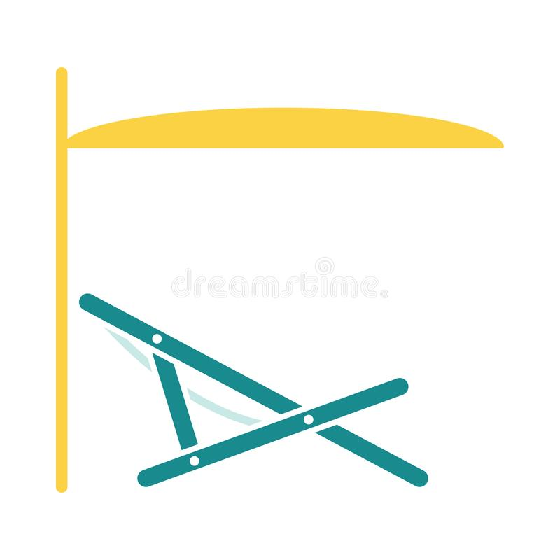 Sea beach recliner with umbrella icon. Stencil in blue and yellow tone. Vector illustration vector illustration