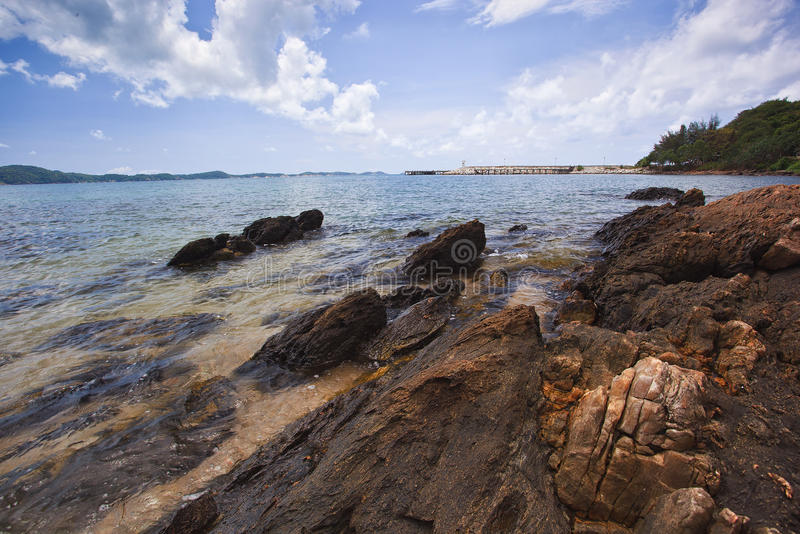 Download Sea Beach And Rock On Blue Sky Stock Photo - Image: 23938076