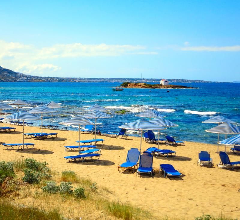 This sea-beach is situated in Greece. A lot of blue and white royalty free stock image